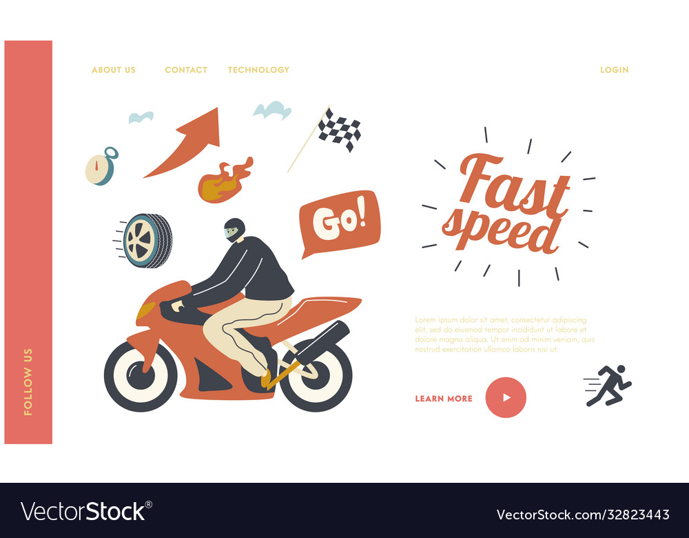 Speed racing motocross rally landing page