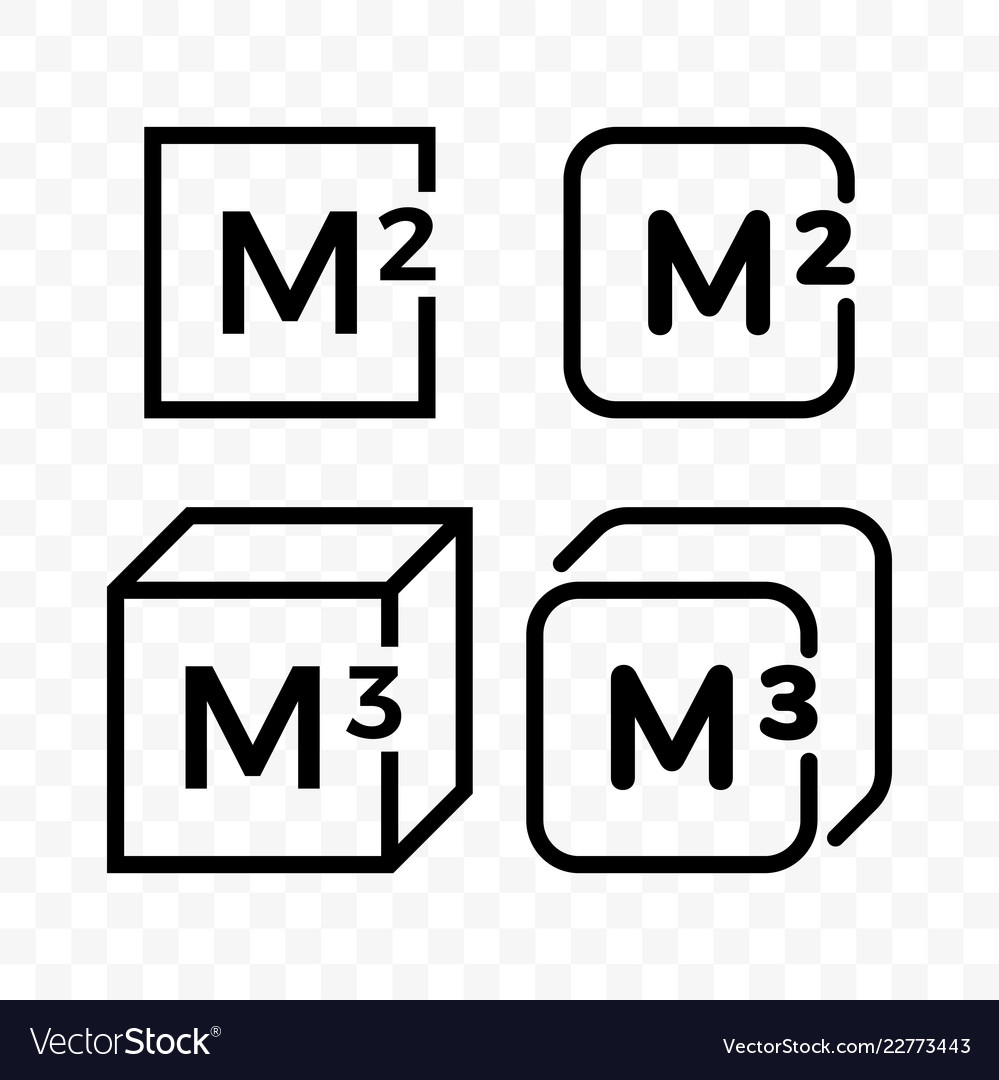 Square and cubic meters line icons