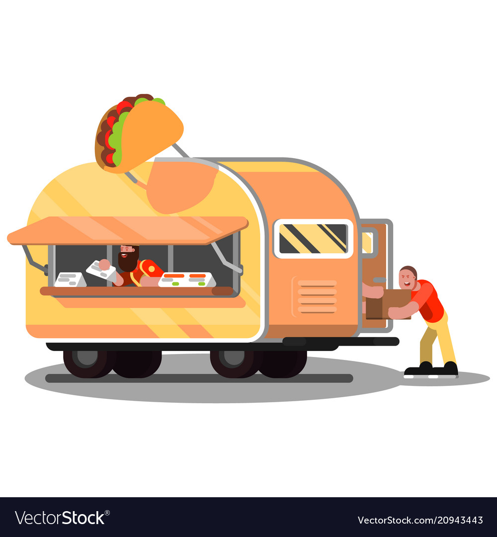 Workers In Mexican Food Truck Royalty Free Vector Image