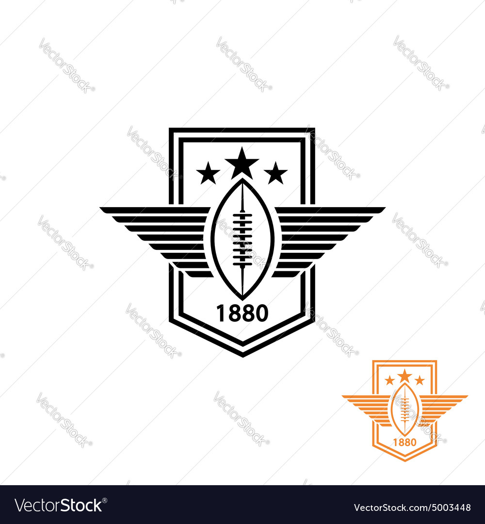 American football or rugby ball with wings and