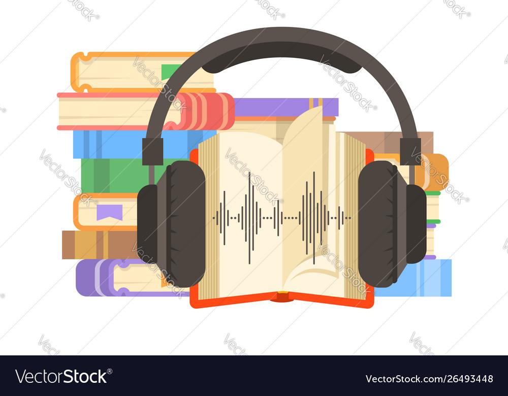Audio book and headphones flat