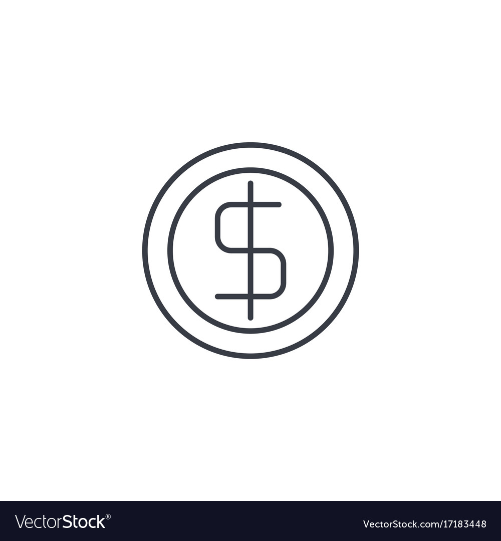 Coin dollar money finance currency thin line