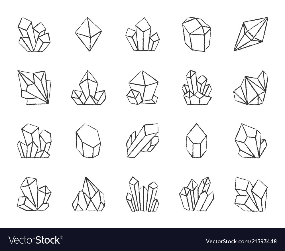 Crystal charcoal draw line icons set