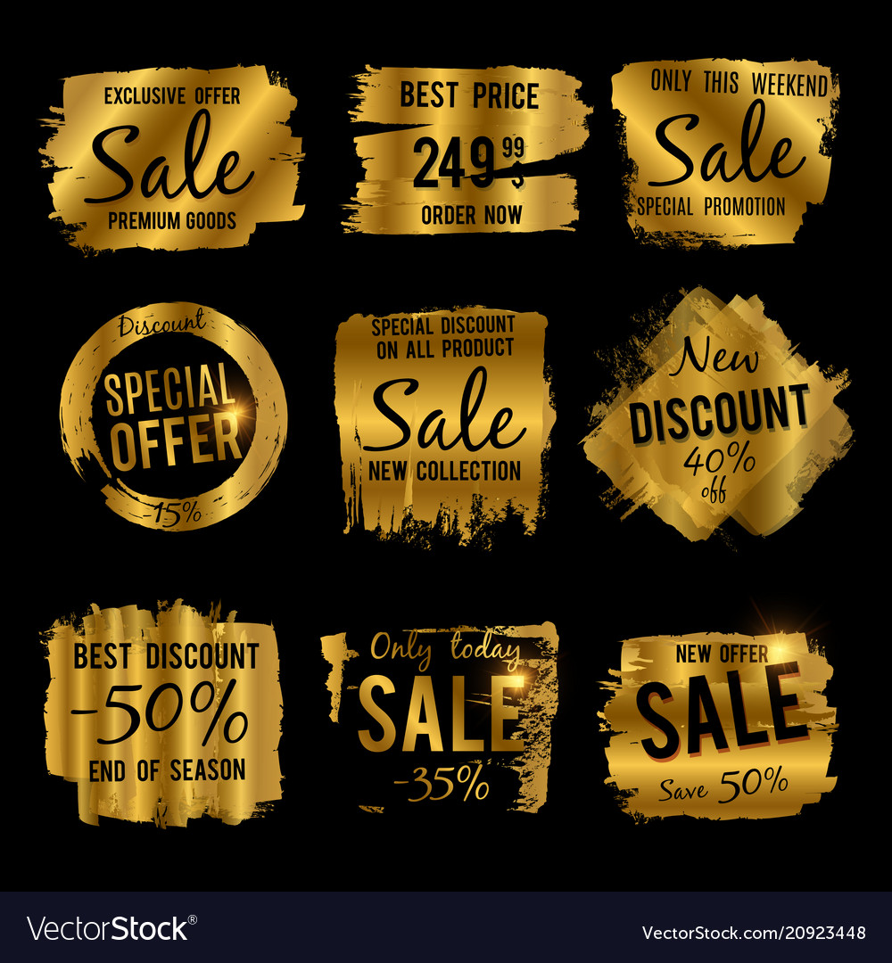 Golden discount and price tag sale banners with