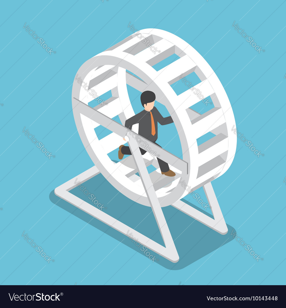 Isometric businessman running in a hamster wheel
