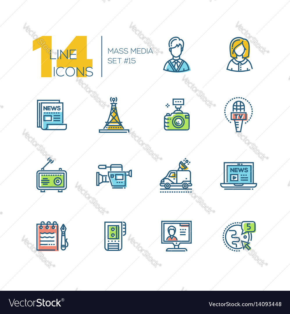 Mass media - colored modern single line icons set vector image