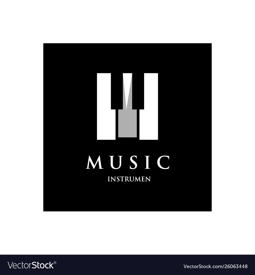 Piano orchestra logo template design on a black