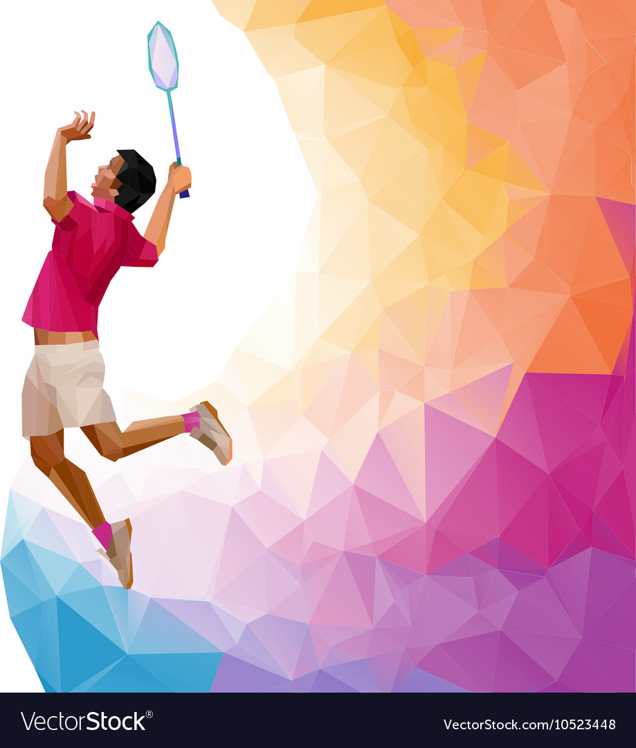 Polygonal professional badminton player during vector image