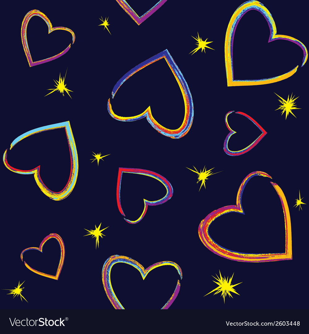 Seamless pattern with painted hearts