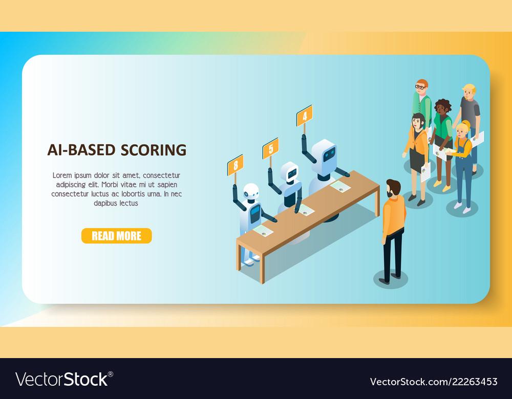 Ai-based scoring model concept isometric