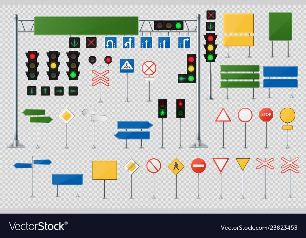 Big realistic set of road signs and traffic lights