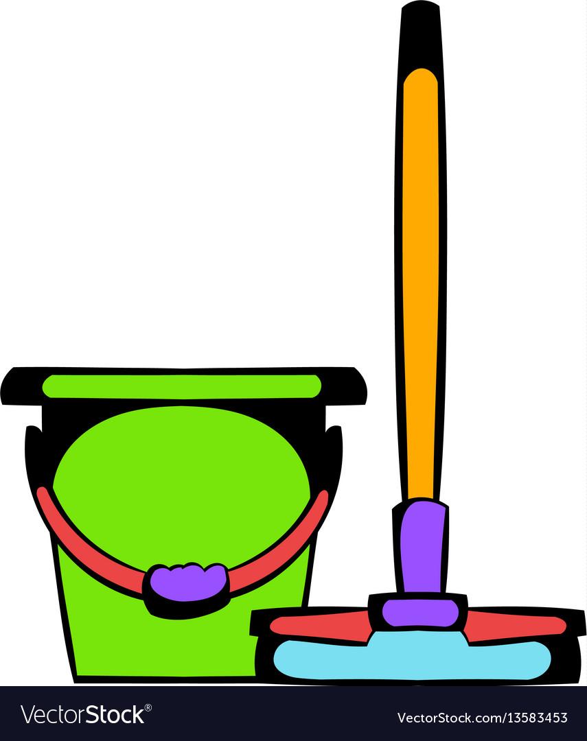 Bucket with a mop icon cartoon