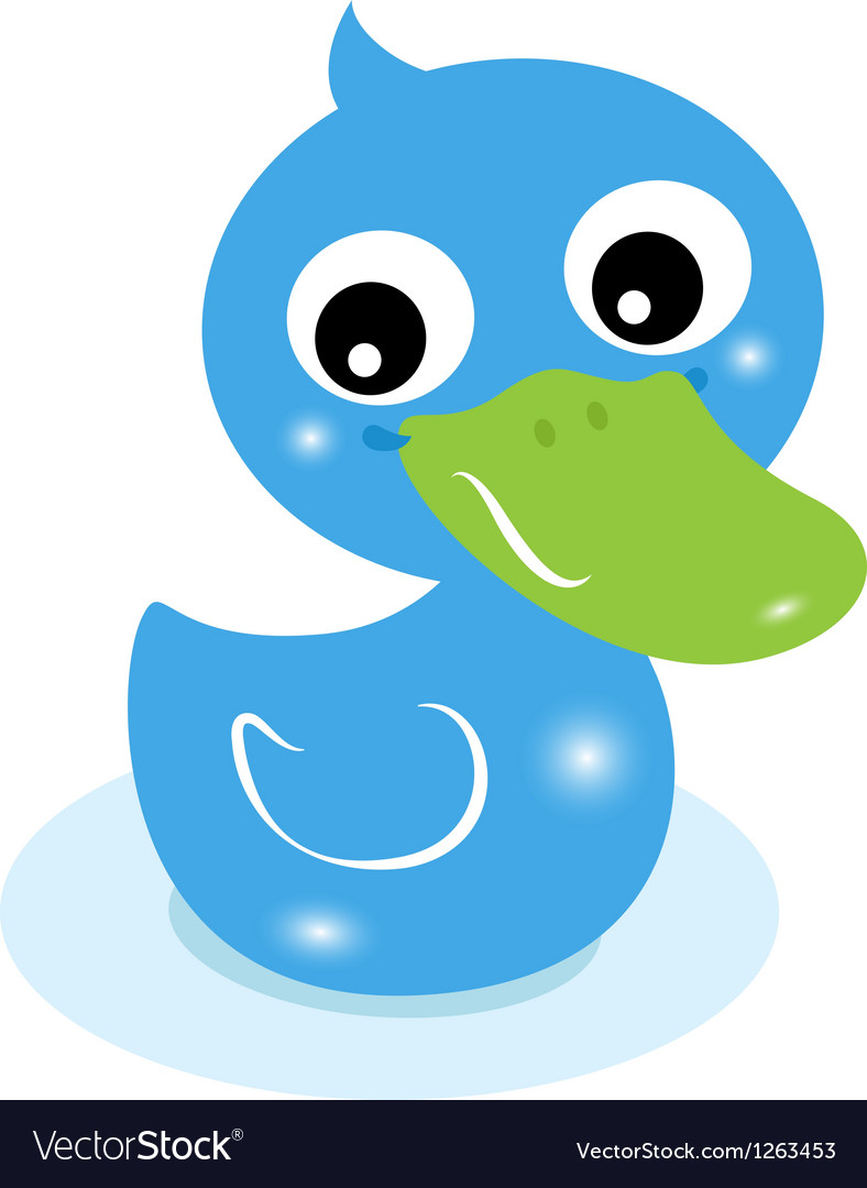 Cute little blue rubber duck isolated on white vector image