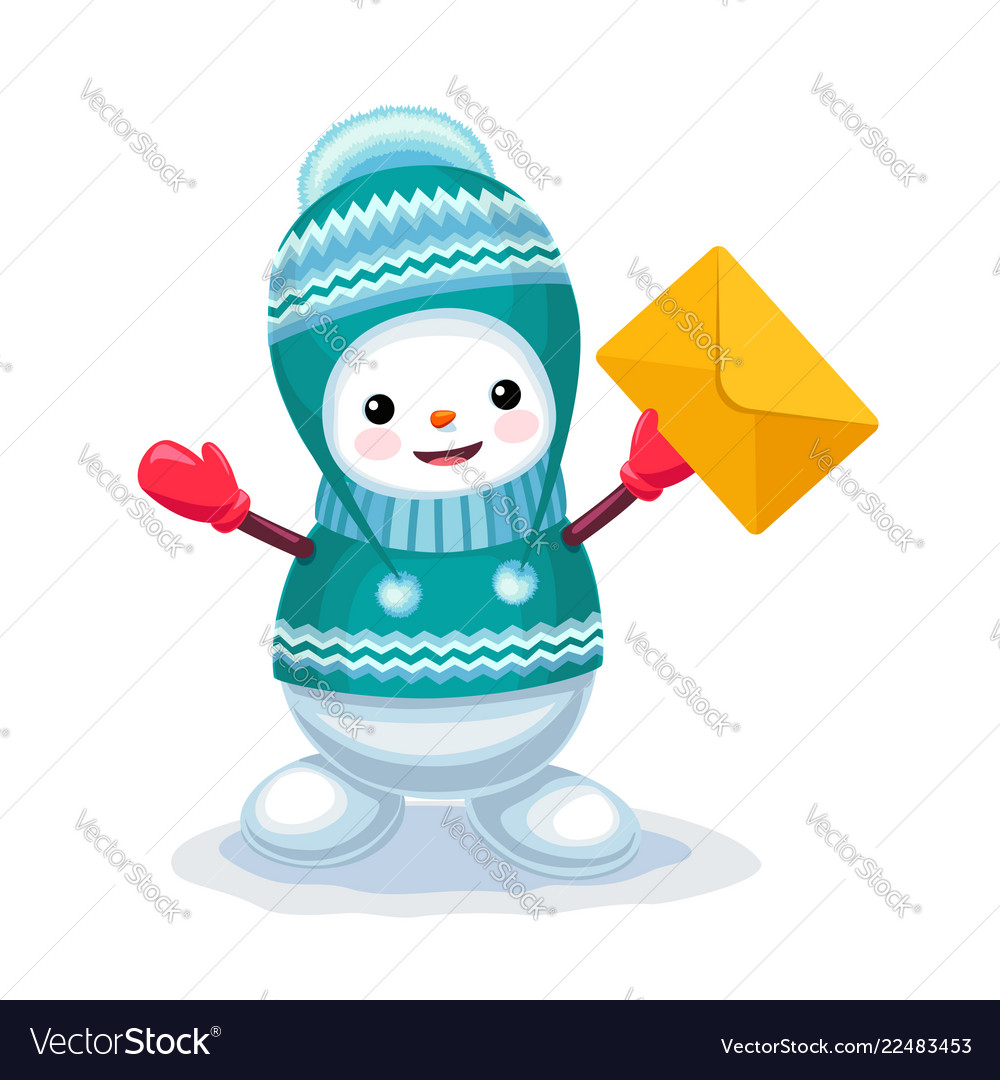 Cute snowman with a letter envelope on his hand