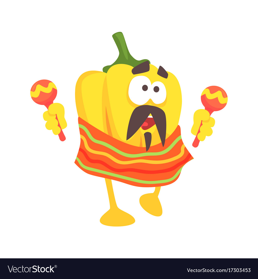 Funny cartoon yellow pepper character wearing vector image