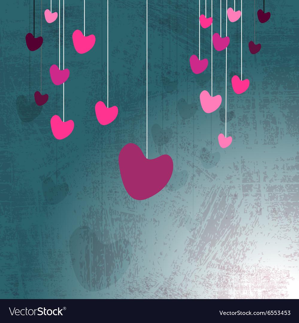 Hanging hearts on grunge
