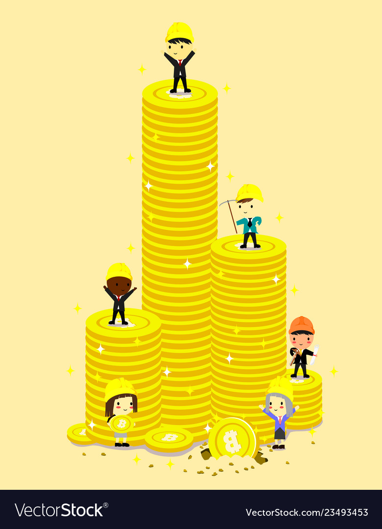 High coin tower and engineerbusinessman