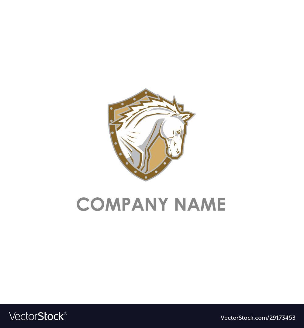 Horse head shield logo