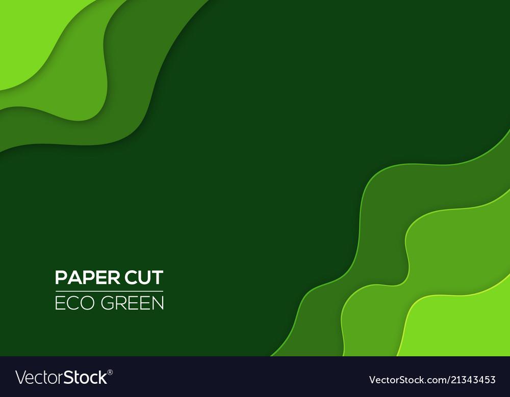 modern 3d paper cut art template green color vector image