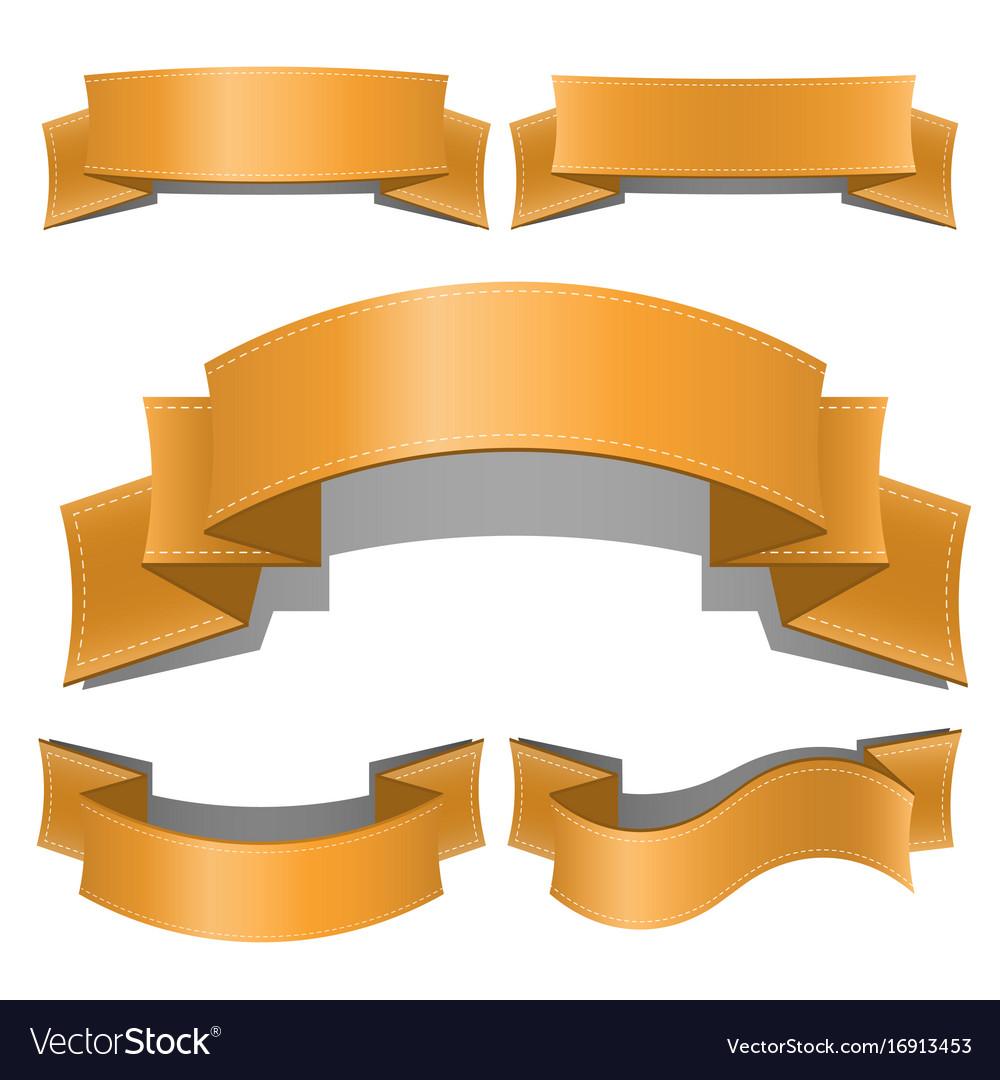 Ribbon banner set isolated on white background vector image