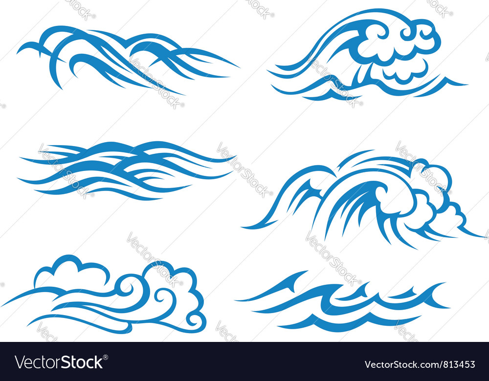 sea and ocean waves royalty free vector image vectorstock rh vectorstock com vector waveform file in quartus vector wave equation