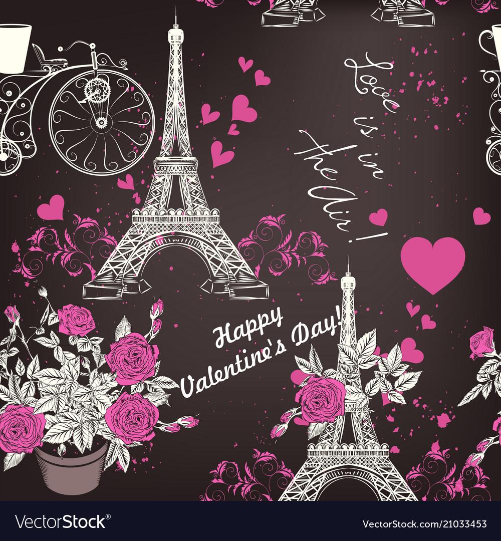Seamless wallpaper pattern with eifel tower