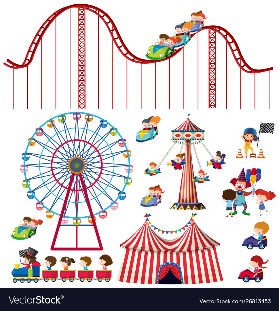 Set isolated objects theme circus