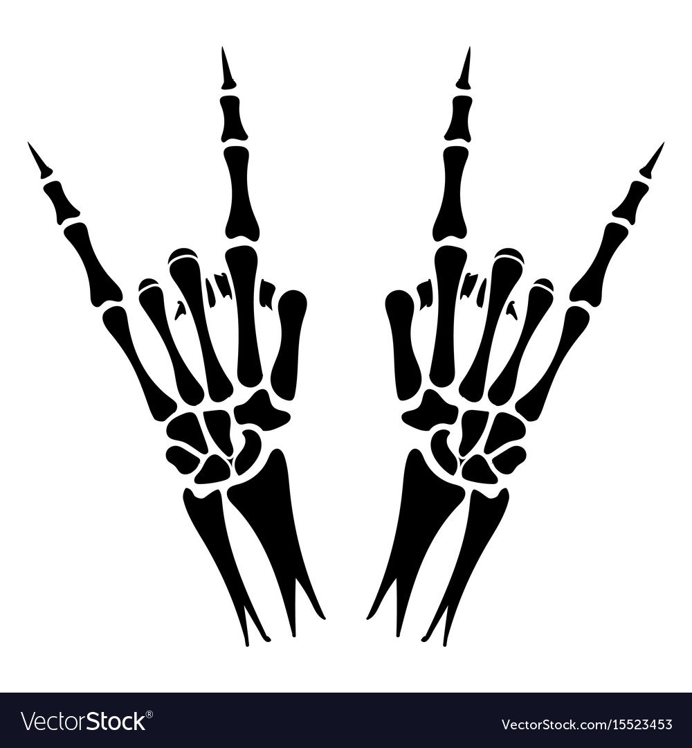 Skeleton hands heavy metal sign vector image