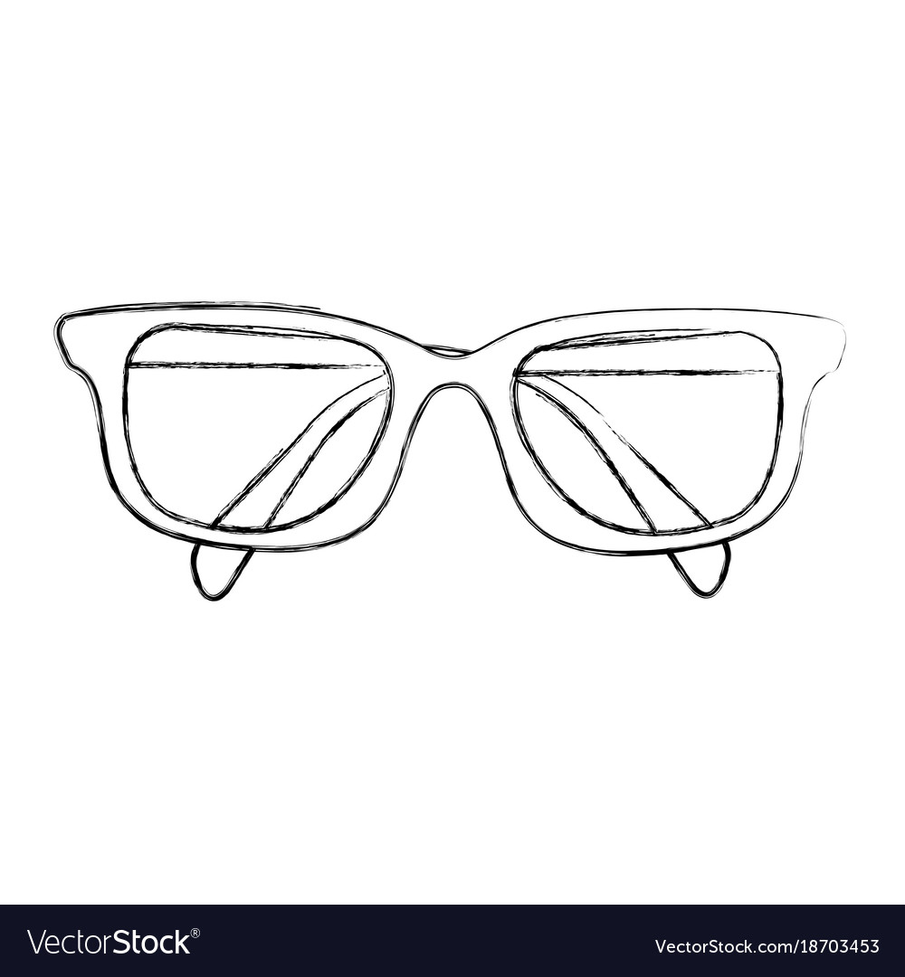 4ac25bc53c5 Sketch draw glasses cartoon Royalty Free Vector Image