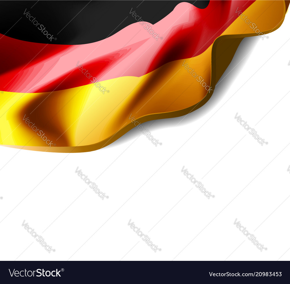 Waving flag of germany close-up with shadow on