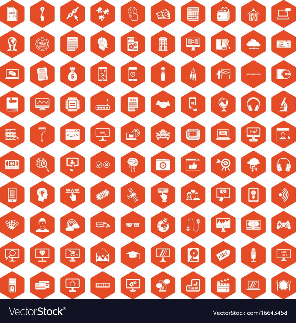 100 website icons hexagon orange