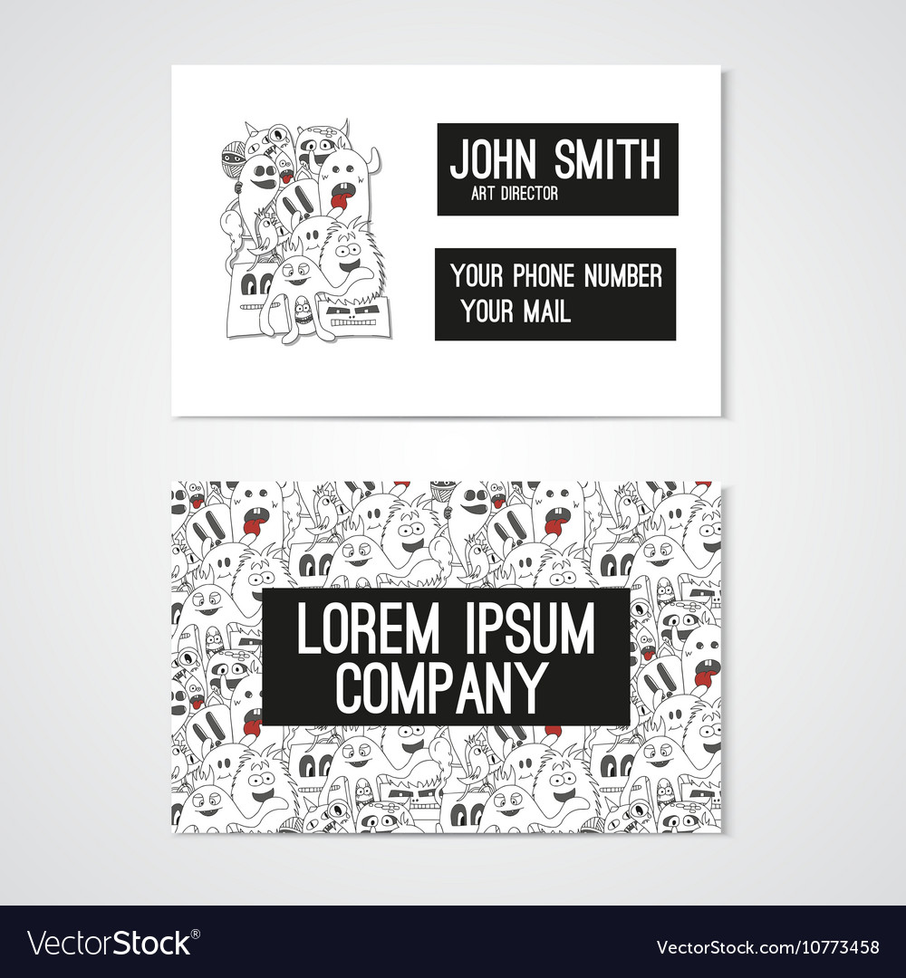 Business card template whit funny doodle monstes vector image accmission Choice Image