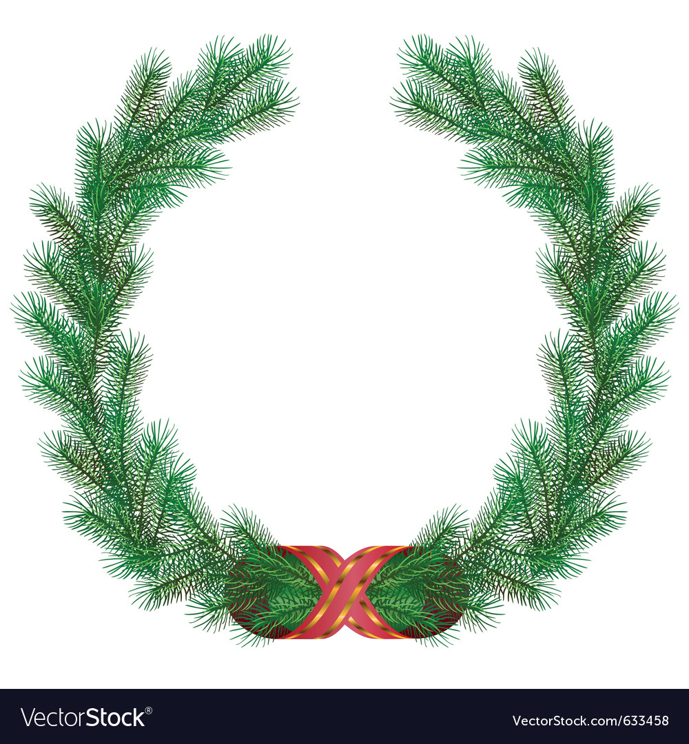 Christmas fir branch wreath frame Royalty Free Vector Image