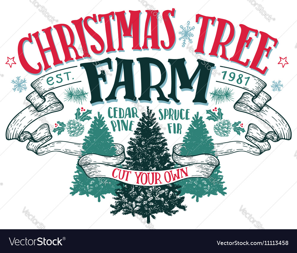 Christmas Tree Farm Logo.Christmas Tree Farm Vintage Sign Vector Image
