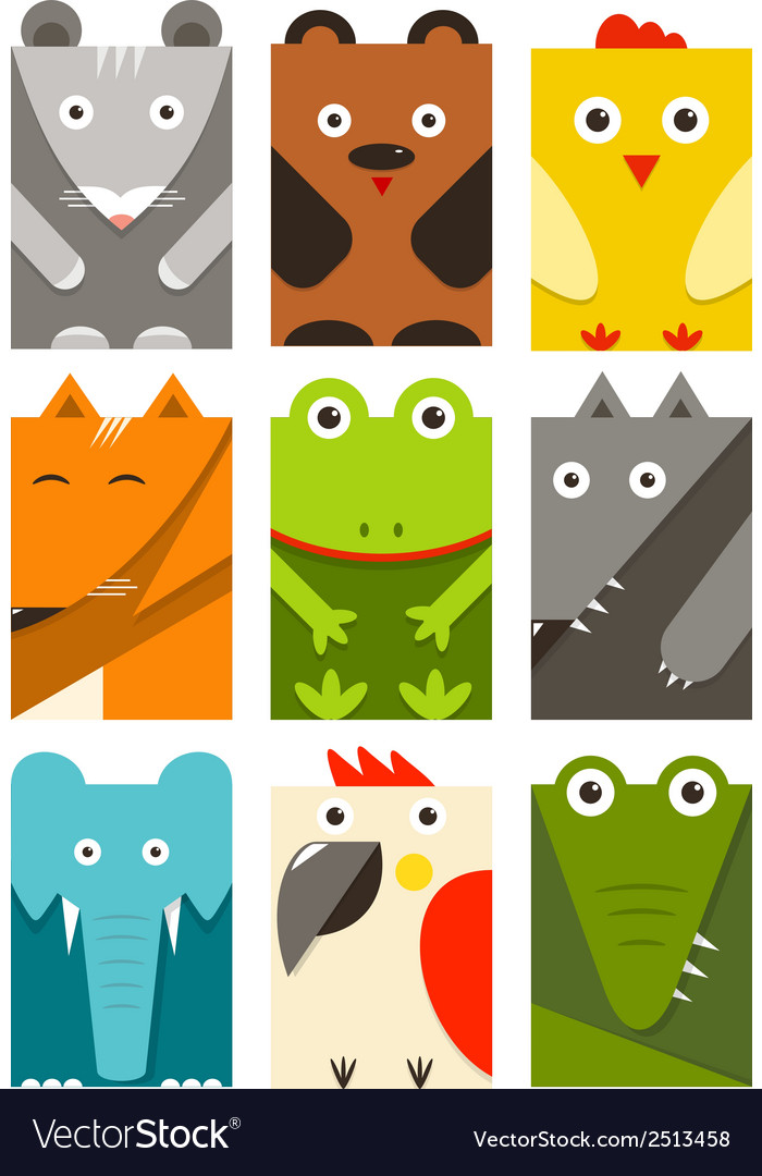 Flat Childish Rectangular Animals Set vector image