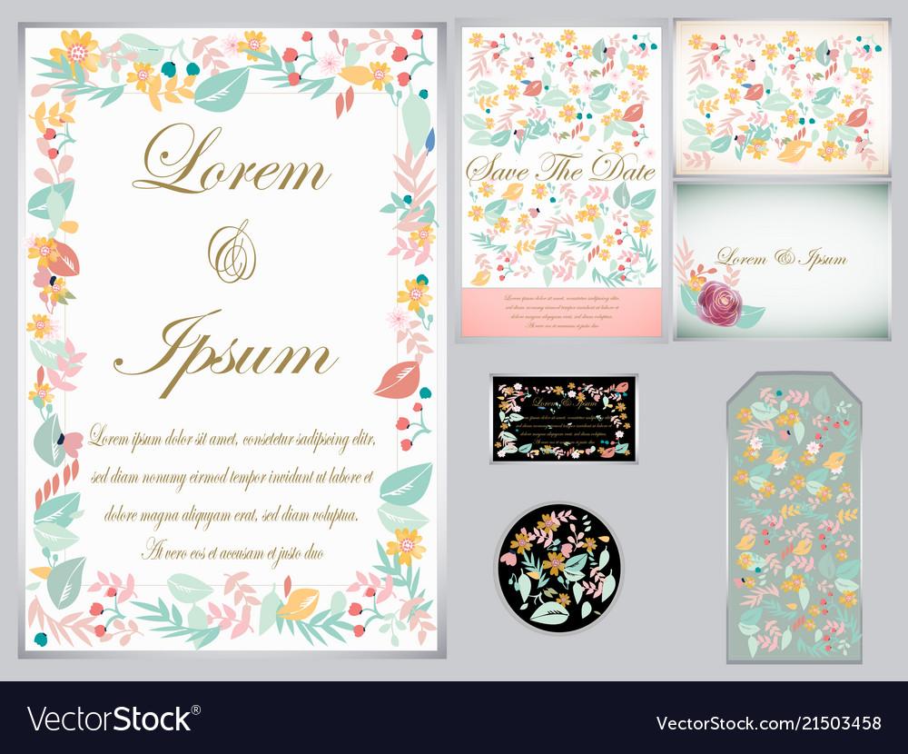 Flower wedding card and tag
