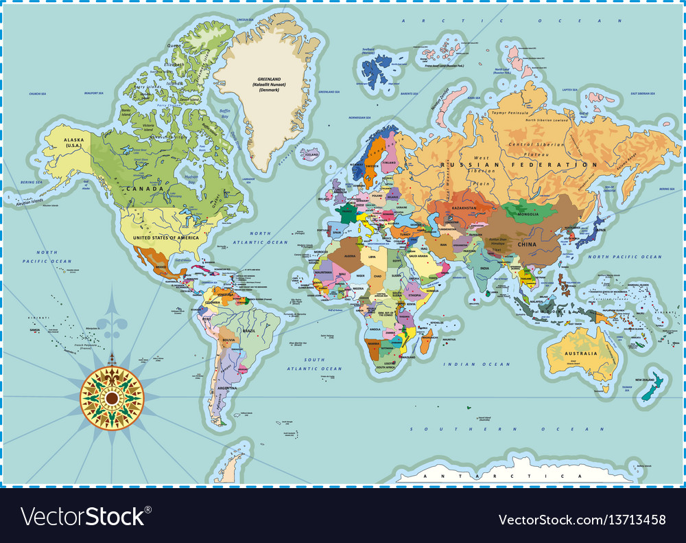 Highly detailed political world map in retro style vector image