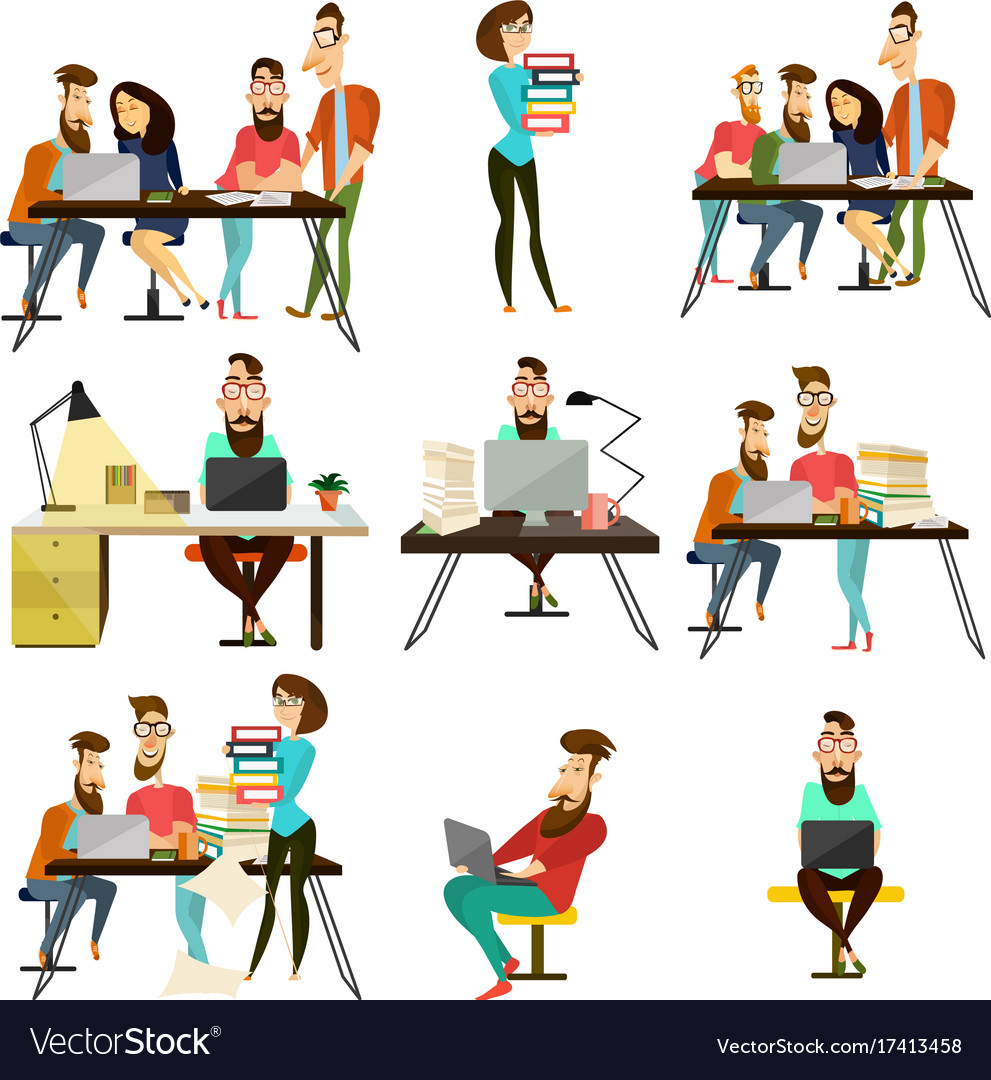 office team cartoon characters icons set vector image