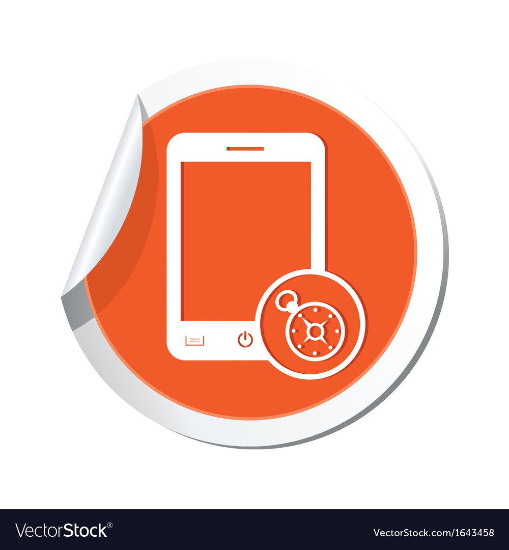 Phone compass icon orange sticker