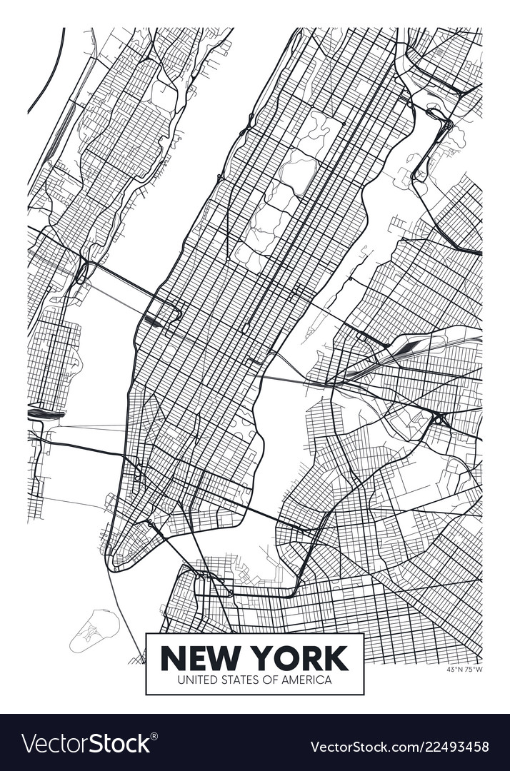 Poster Map City New York Royalty Free Vector Image