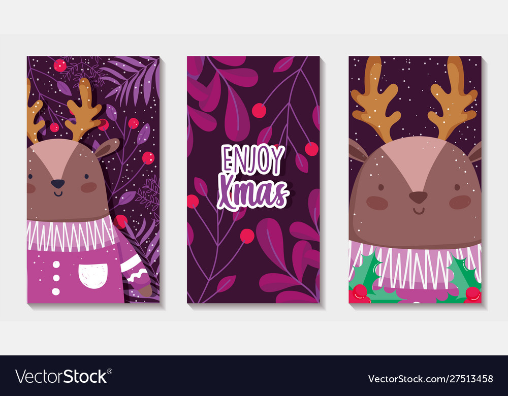 Reindeer with sweater branches merry christmas