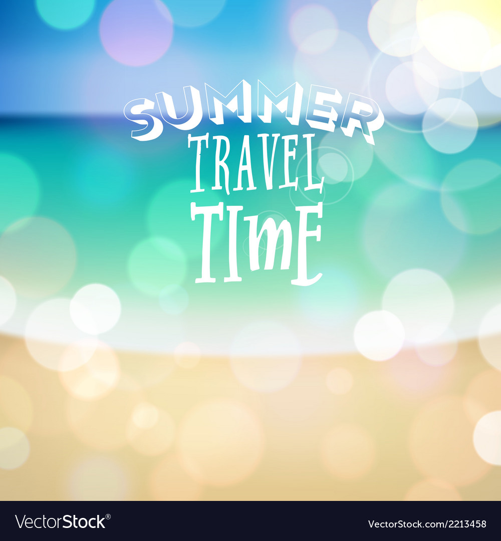 Summer travel time poster on tropical beach backgr