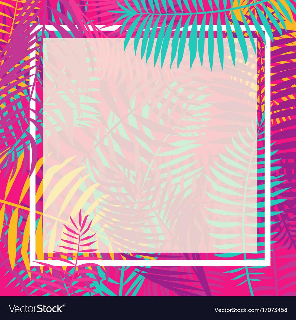 Tropical palm leaf border