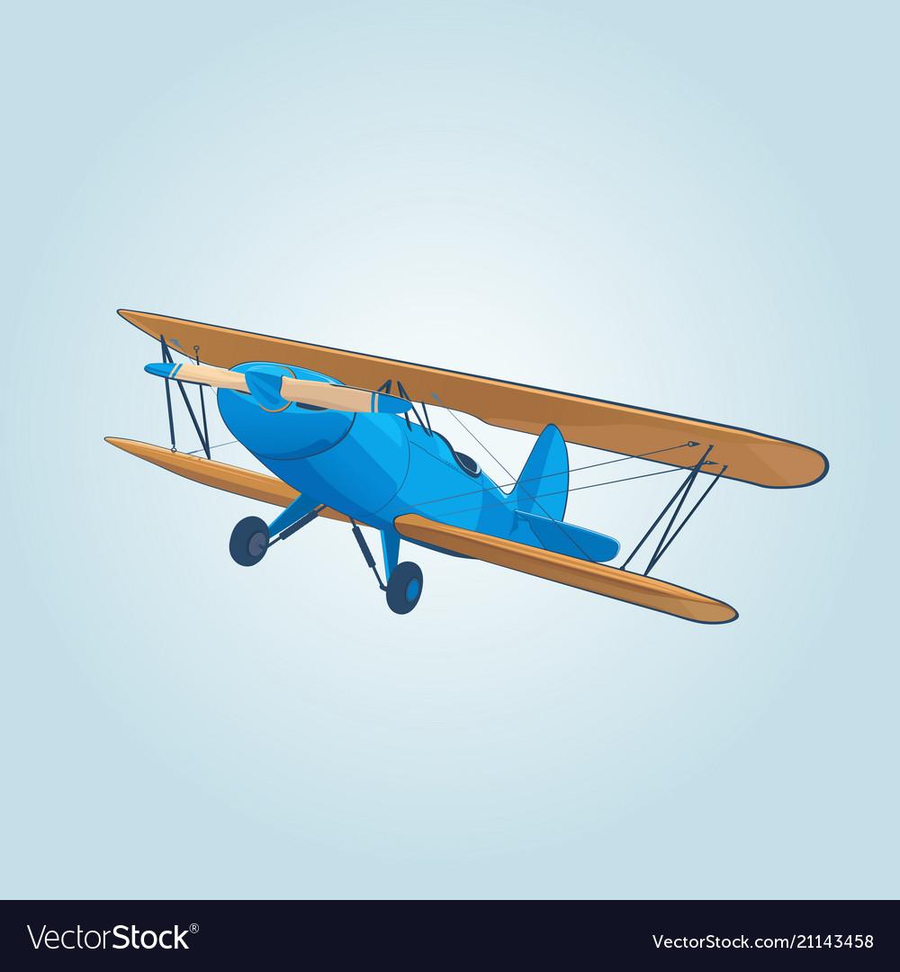 Vintage blue biplane in sky