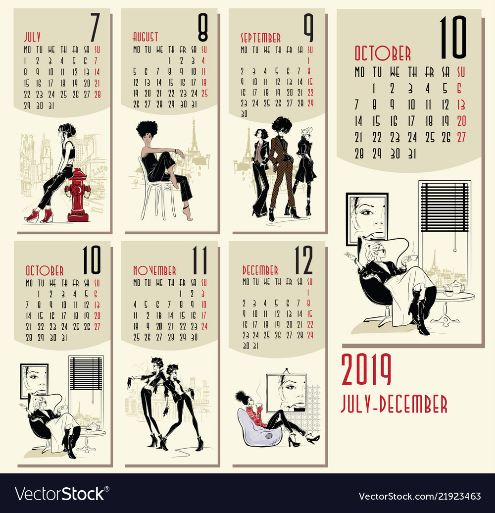 2019 New Year Calendar With Fashion Royalty Free Vector
