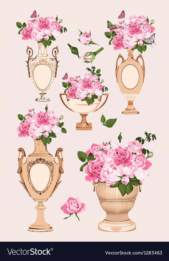 Collection Of Vases Roses On Pink Background Vector Image
