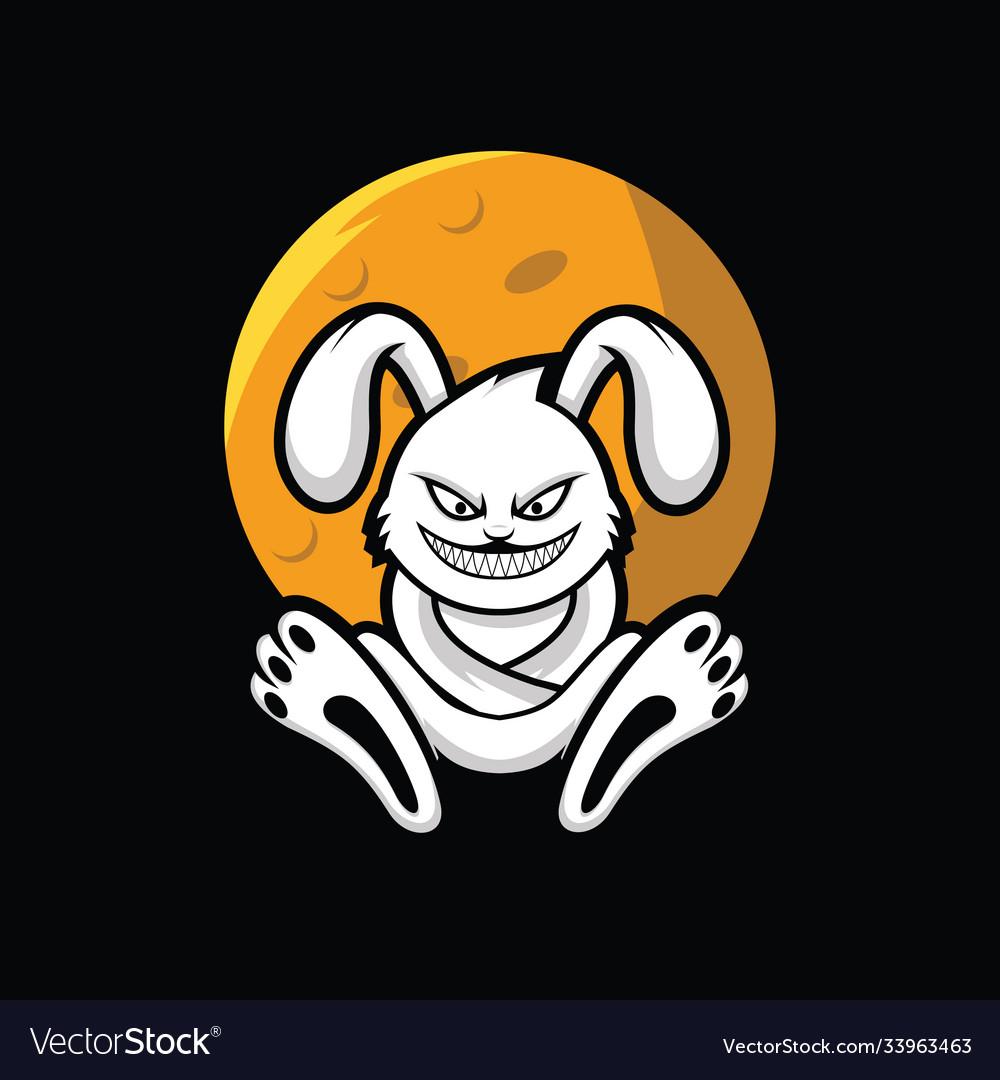 Crazy rabbit under moon