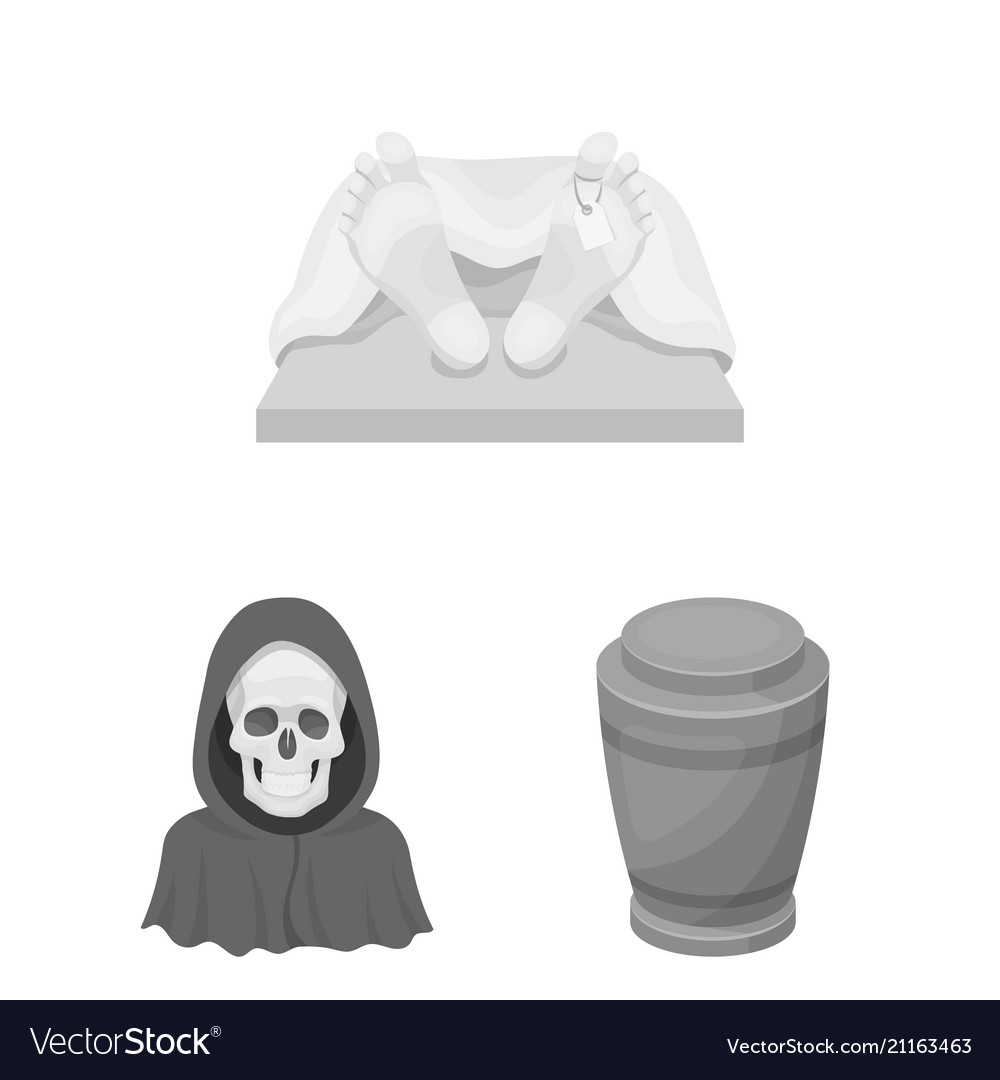 Funeral ceremony monochrome icons in set