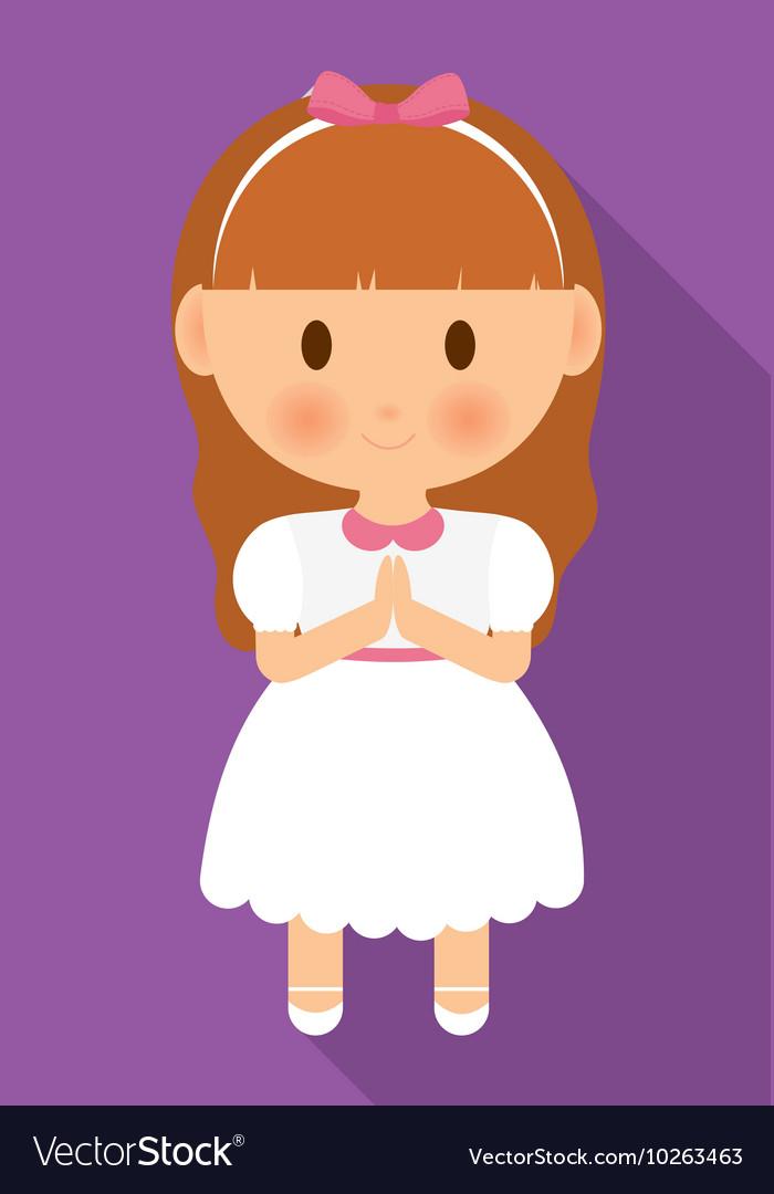 Girl kid cartoon white dress icon graphic