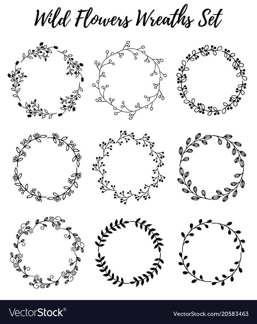 Hand drawn wreath set of design leaves